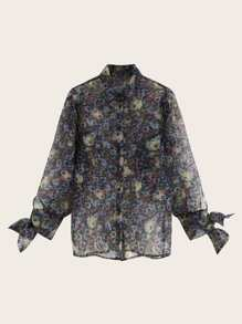 Allover Floral Print Knot Cuff Blouse