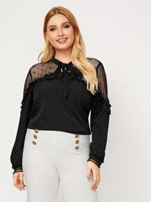 Plus Mesh Insert Tie Neck Blouse