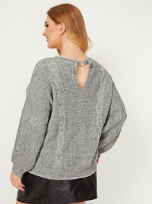 Plus Cable Knit Keyhole Back Sweater