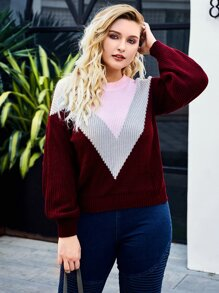Plus Colorblock Chevron Print Sweater