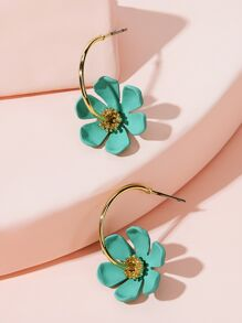 Ring Decor Flower Earrings 1pair