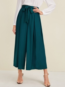 Self Tie Crop Culotte Pants