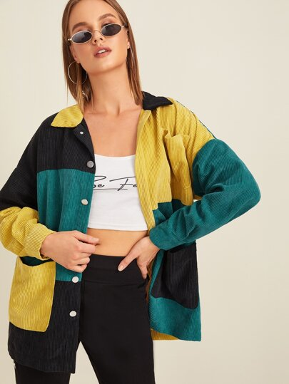Pocket Front Colorblock Cord Coat