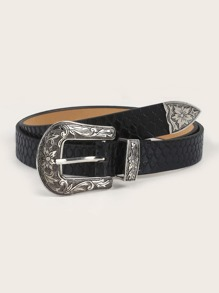 Croc Pattern Western Buckle Belt
