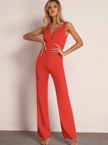 Joyfunear Notched Neckline Maxi Tank Jumpsuit