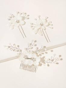 Faux Pearl & Flower Decor Hair Comb 3pcs