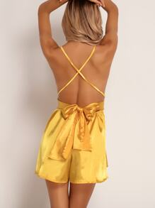 Joyfunear Criss-cross Backless Satin Romper