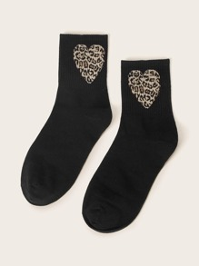 Leopard Heart Pattern Socks 1pair