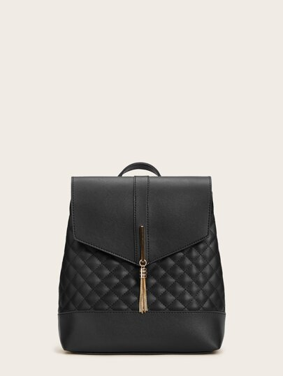 Tassel Decor Quilted Backpack