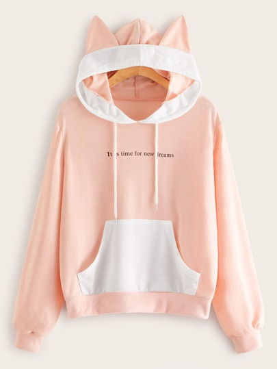 Letter Graphic Pocket Drawstring Hooded Sweatshirt