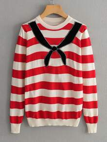 Tie Embroidery Striped Sweater
