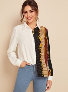 Contrast Chain Print Single-breasted Blouse