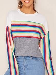 Rainbow Striped Drop Shoulder Tee