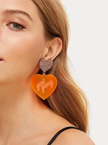 Glitter Decor Double Heart Drop Earrings 1pair