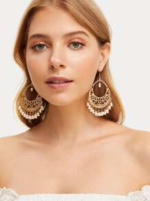 Hollow Out Bead Tassel Drop Earrings 1pair