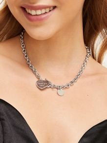Heart Shaped Charm Chain Necklace 1pc