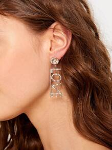 Rhinestone Letter Decor Drop Earrings 1pair
