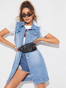 Frayed Trim Sleeveless Denim Coat Without Bag