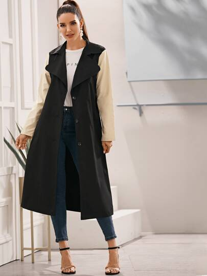 Contrast Panel Single-breasted Belted Trench Coat