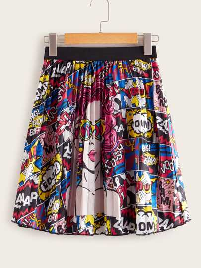 Comic Print Contrast Elastic Pleated Skirt