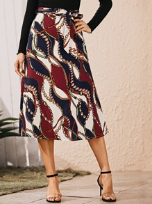 Chain Print Self Tie Midi Skirt