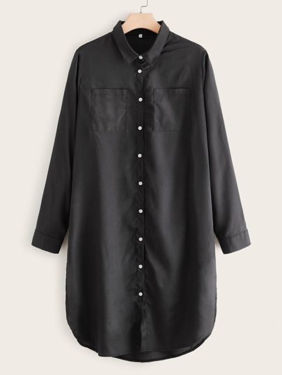 Plus Button Front Dual Pocket Shirt Dress
