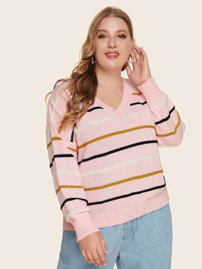 Plus Drop Shoulder Striped Sweater