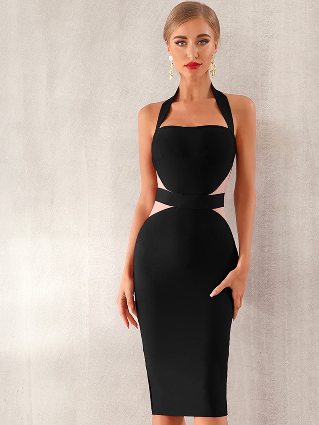 Two Tone Midi Halter Bandage Dress thumbnail