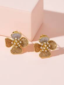 Glitter Flower Stud Earrings 1pair