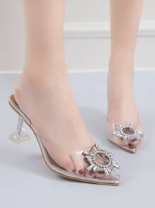 Point Toe Jewelled Decor Stiletto Heels