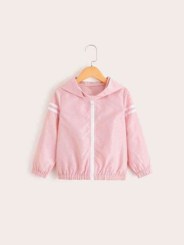 3e86ebf8e Toddler Girls Stripe Side Hooded Windbreaker Jacket