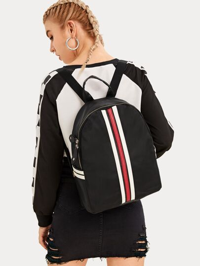 Zip Around Striped Backpack