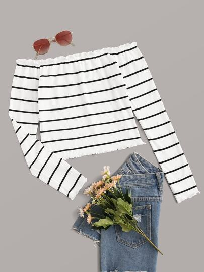 Lettuce Trim Striped Bardot Top