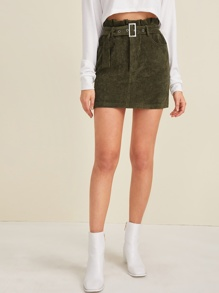 Paperbag Waist Belted Corduroy Skirt