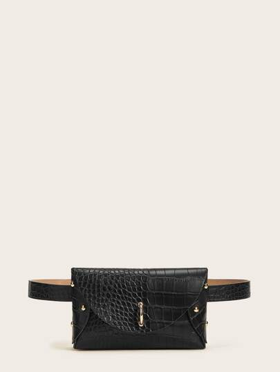 Studded Decor Croc Embossed Fanny Pack