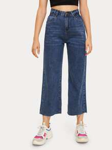 Button Fly Pocket Side Wide Leg Jeans