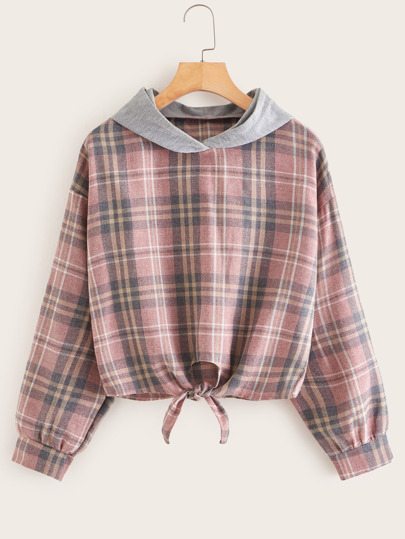 Contrast Panel Plaid Tie Front Sweatshirt
