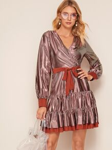 Self Tie Stripe Ruffle Hem Surplice Dress