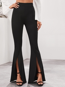 High Waist Flare Leg Slit Hem Pants