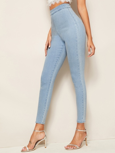 Bleach Wash Zip Back Skinny Jeggings