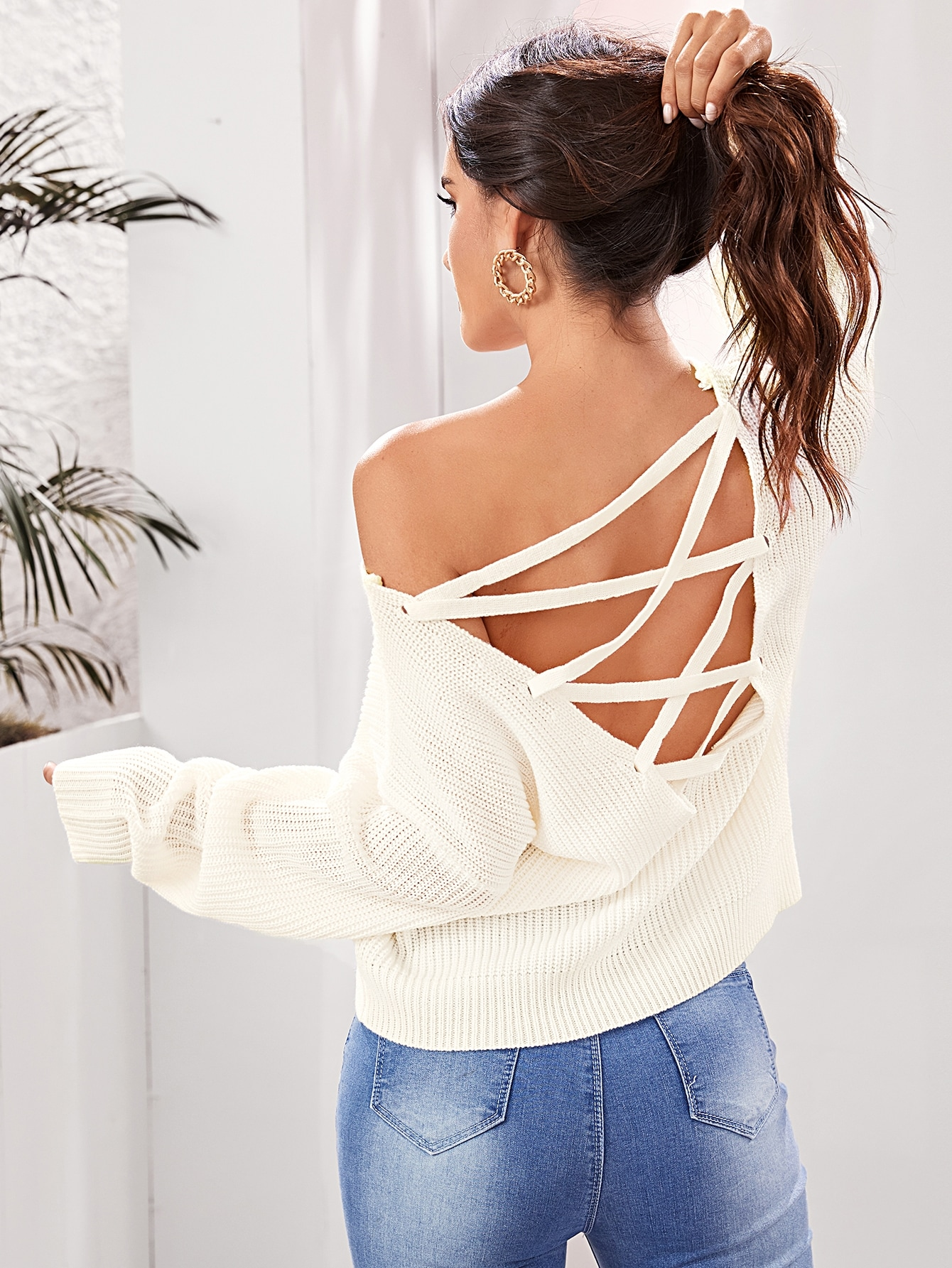 Solid Lace Up Backless Sweater thumbnail