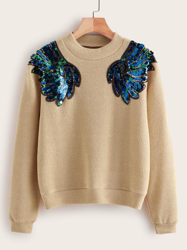 SheinContrast Sequin Drop Shoulder Sweater by Sheinside
