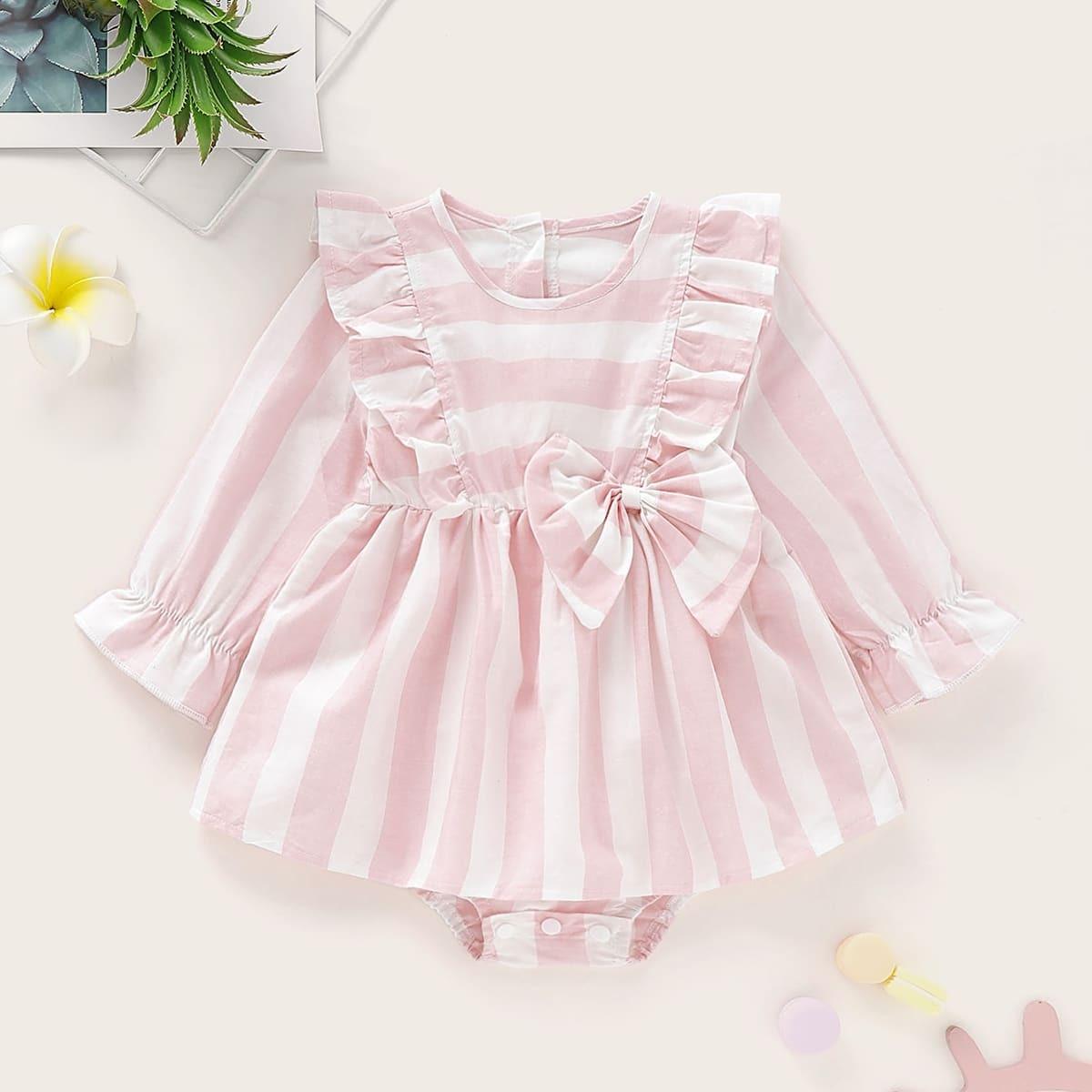 Платье-боди с бантом в полоску для девочек от SHEIN
