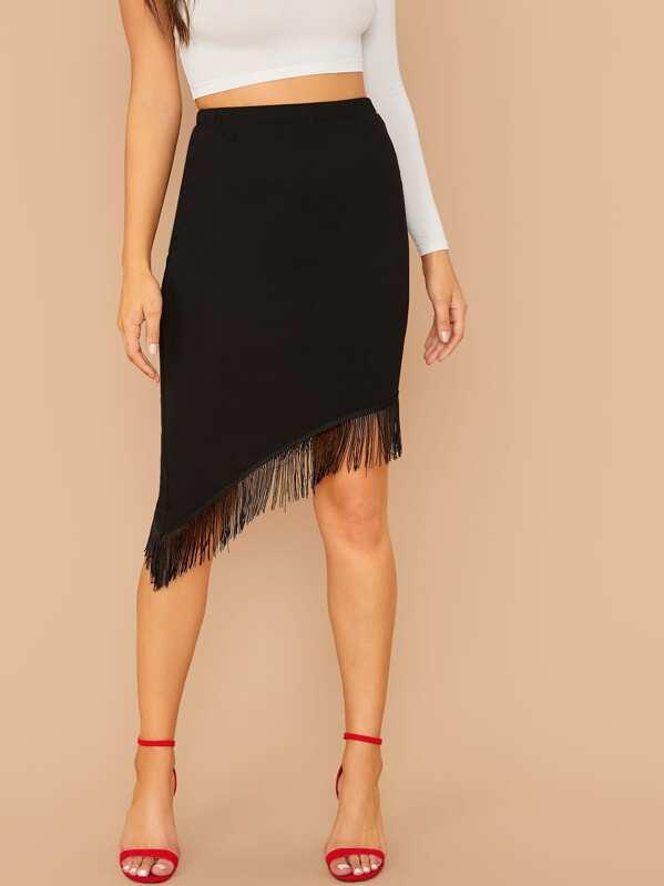 SheinFringe Trim Solid Skirt by Sheinside