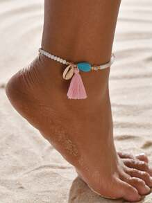 Shell & Tassel Charm Beaded Anklet 1pc