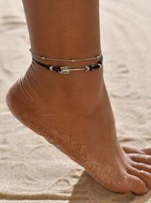 Arrow Decor Layered Anklet 1pc