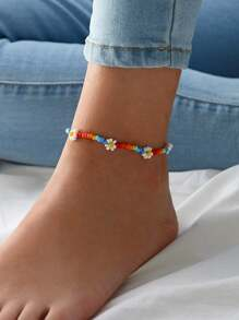 Daisy Decor Beaded Anklet 1pc