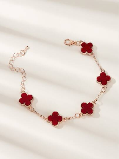 Clover Decor Chain Bracelet 1pc
