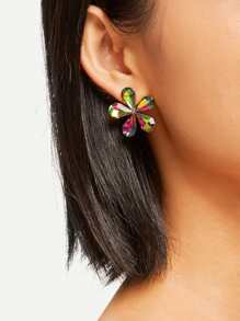Ombre Flower Design Stud Earrings 1pair