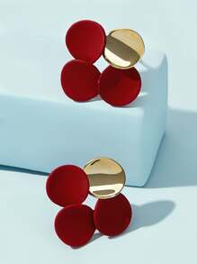 Colorblock Geometric Stud Earrings 1pair